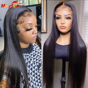 Кружевные парики предварительно сорванные человеческие волосы кость прямой передний парик 13x4 28 30 дюймов Lacefront Frontal 4x4 закрытие с ребенком