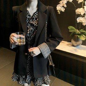 Fashion Velvet Women Blazers Female 2021 Loose Oversize Long Suits Coat Split Sleeve Elegant Slim Formal Blazer For S0129 Women's