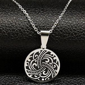 Wave Stainless Steel Pendant Necklace Women Silver Color Statement Jewellery Acero Inoxidable Joyeria Mujer N18687S05 Necklaces