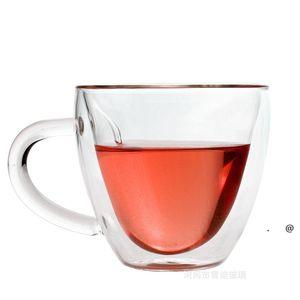 Coffee Mug Glass New style Double Walled Heat Heat Resistant Tumbler Espresso Tea Cup heart Mugs sea ship FWE5905