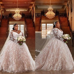 Sexy Off The Shoulder V Neck Bridal Gowns 2021 African Long Sleeves Lace Princess Ball Gown Puff Sweep Train Wedding Dress Plus Size Vestidos De Novia robes AL8870