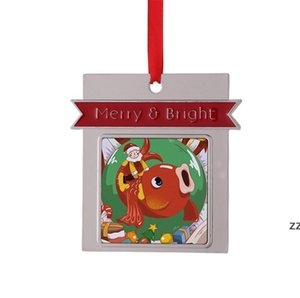 Christmas Pendant Sublimation Frame Shape Ornaments Metal Thermal Transfer Printing Ornament Blanks Customized Gift Diy sea way HWA8683