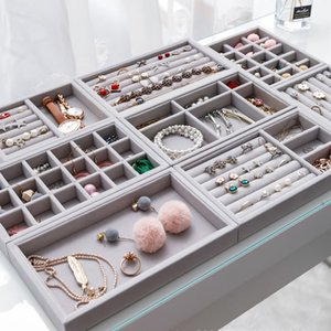 Thick Velvet Jewelry Storage Tray Necklace Ring Bracelet Holder Display Stand Drawer Gray Pink beige Organizer Case