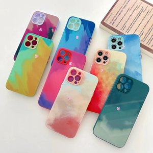 Oil Color Ink Painting Watercolor Hard Tempered Glass Cases For Iphone 12 Pro Max 11 XR XS X 8 7 Plus Soft TPU Colorful Paint Fashion Mobile Phone Back Cover Coque Skin