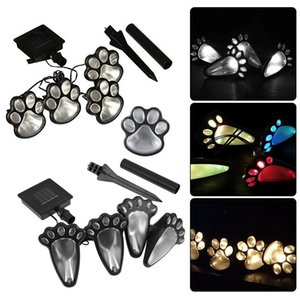 4 Solar Lawn Lamps Cat Animal Paw Print Lights Garden Outdoors Lantern LED Landscape Lamp Path Decorative Lighting Footprints