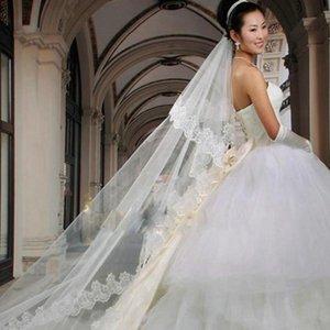 Bridal Veils LAN TING BRIDE Trs Camadas Borda Com Aplicao De Renda Vus Noiva Vu Ponta Dos Dedos Apliques 118,11 Em (300 Centmetros)