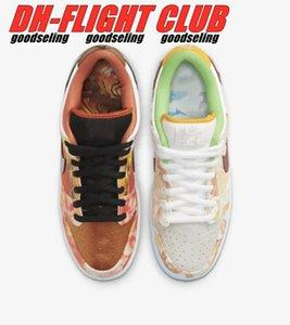 2021 Release SB Dunks Low Street Hawker Flat Shoes Metallic Copper Sports Sneakers Size EU36-46 Ship With Shoebox