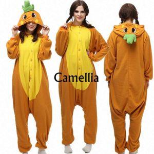 Novelty Adults Cute Face Onesie Women Men Carrot Costume Polar Fleece Party Pyjamas Halloween Pockets Jumpsuit Mascot ktTo#