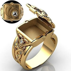 Luxury Vintage Mens Rings Signet Seal Male Ring Fashion Jewelry Box Flip Style Gold Color Hip Hop Punk Ring