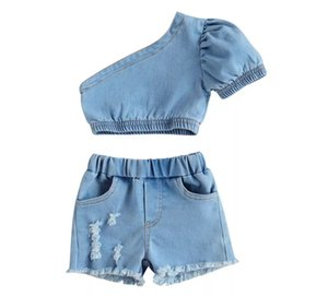 Summer Children Denim Clothing sets Fashion kids one shoulder short sleeve Tops +Cowboy Shorts 2pcs INS girls outfits A6646