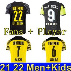 Dortmund Soccer Jersey Borussia 21 22 Cuarto 4to 2021 2022 Camisa de fútbol Haaland Reus Neongelb Bellingham Sancho Hummels Brandt Men + Kids Kit Maillot de Foot
