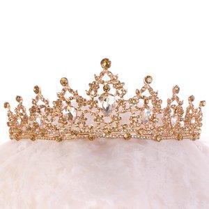 Barok Altın Şampanya Kristal Kalp Gelin Tiaras Taç Rhinestone Pageant Diadem Veil Tiara Bantlar Düğün Saç Aksesuarları1 790 R2