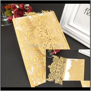 Greeting 10Pcs Square Laser Cut Lace Flower Invitations Cards For Birthday Party Wedding Decorations 7Zsh073 A0Wt5 1Czsl