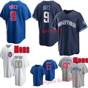 2021 جديد البيسبول جيرسي 9 خافيير بايز 44 أنتوني ريزو 17 كريس براينت أبيض أزرق رجالي الفانيلة الرياضة جميع مخيط حجم S-XXXL