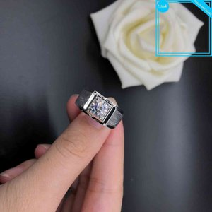 Solid 18K White Gold AU750 Male Classic 1CT Diamond Men engagement Ring D Color VVS1 Promise Jewelry gift For spouse