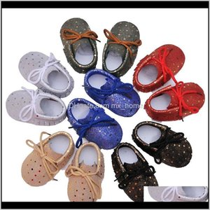 Baby Kids Maternity Drop Delivery 2021 Moccasins Genuine Leather Laceup Shinning Tassels Dots Infant Shoes Soft Sole Antislip Prewalkers Baby