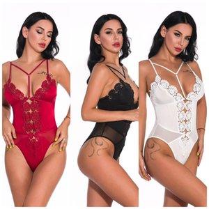 Women Bra Lace Sexy set Hollow Lingerie Bodysuit Perspective Deep V Erotic Underwear One Piece Halter Open