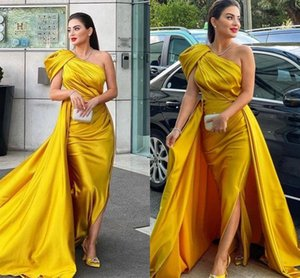 Sexy One Shoulder Prom Dresses with Detachable Skirt High Split Yellow Satin Plus Size Arabic Aso Ebi Evening Reception Party Gowns 2022