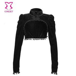 Black Velvet Short Steampunk Crop Jacket Stand Long Sleeve Autumn Women Gothic Bolero Victorian Coat Vintage Corset Accessories Women's Jack