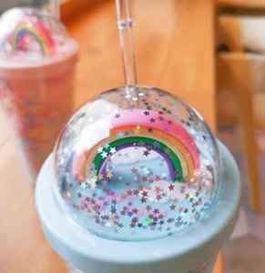 450ML Cute Rainbow Cup Double Plastic with Straws PET Material for Kids Adult Girlfirend for Gift Products EEB6501