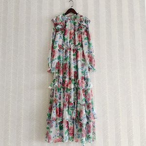 Runway Fashion Women Long Dress 2021 Spring Autumn Ruffles Flower Print Lantern Sleeve Party Holiday