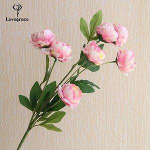 Wedding Flowers Small Peonies Artificial Flower Branch DIY 7 Heads Peony Silk Door Backstage Wall Home Desk Vase Decor Fake Flore