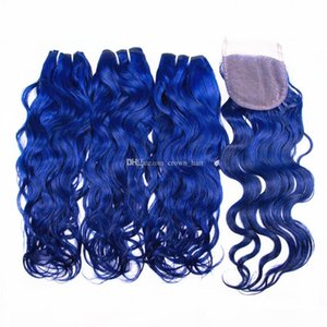 Wet and Wavy Medium Blue Human Hair 3 Bundles With Closure 4x4 Free Part Top Lace Closure With Water Wave Hair Extensions