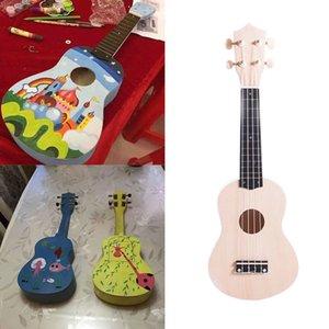 21 Inch Raw wood color Ukulele DIY Kit Handicrafts Support Painting Kids Children Toy Assembly for Beginner Amateur