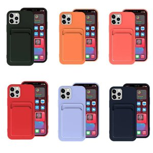 Liquid Silicone Card Holder Wallet Phone Case for iPhone 12 11 Pro Max XS SE Mini XR 6 8 7 Plus Shockproof Cover