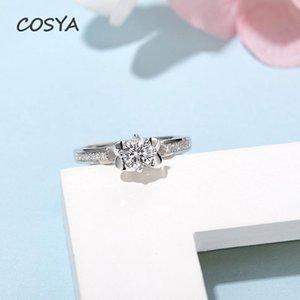 Real Moissanite Fine Jewelry D Color 0.5 100% 925 Esterlina Anéis de Noivado de Prata Mulheres Design de Flores Atacado Cluster