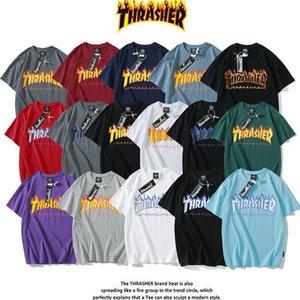 Hip Hop Kurzarm Thrasher T-Shirt Herren Designer Hoodies Sweatshirts Thrasher Flamme Mit Kapuze Hoody Print Velvet T-Shirt Kleidung