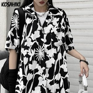 Women's Blouses & Shirts KOSAHIKI 2021 Summer Chic Floral Printing Button Up Women Shirt Short Sleeve Casual Lady Womens Blouse Loose Female