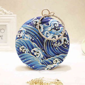 2021 Women Retro Round evening bag blue fashion Rings Diamonds Clutches bag Lady embroidery wedding party Bags MN2019 Y0409