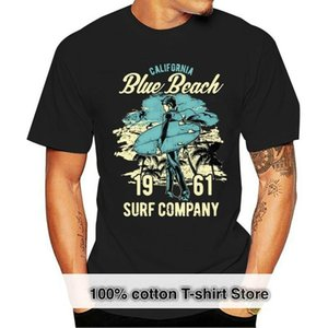 Men's T-Shirts California Tops Tee T Shirt Mens Blue Beach Surf Ocean Surfing Surfer Top Gift T-Shirt Funny Cotton