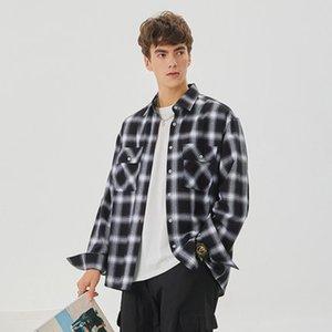 2021 Designer Mens Dress Shirts Business Fashion Casual Manica Lunga Plaid Shirt Brands Men Spring Lattice Solid Color Abbigliamento formale