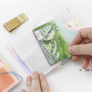 Tarjeta de crédito Transparente Láser PVC Titular de la tarjeta de crédito Organizador Moda Moda Clear Pasaporte Tarjetas Bolsas de almacenamiento EWF6131