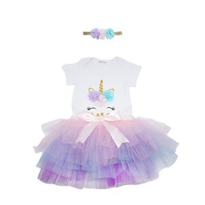 Baby Unicorn Romper+Tutu Skirts Outfits Summer 2021 Kids Boutique Clothing 3-24m Infant Girls Birthday Party Dress Up 322 Y2