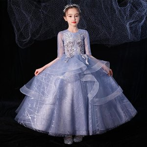 Flower Girl Ball Gown Birthday Party Dress Half-sleeve Tulle Bridesmaid Dresses Kids Wedding For Little Girl's