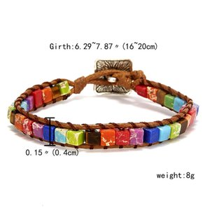 link Rinhoo Chakra Jewelry Handmade Multicolor Natural stone Tubes Claws Leather Wrap Bracelet Handcuffs Gifts