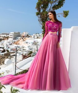 Two Piece Fuchsia Prom Dresses For Girls Lace Long Sleeve Tulle A-Line Sweet 16 Brithday Quinceanera Dress Appliqued Jewel Neck Evening Party Gowns