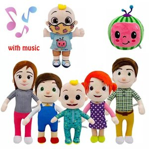 15-33cm Cocomelon toys Plush with music Cartoon Tv Series Family Jj Sister Brother Mom And Dad Toy Dall Kids Gift Stuffed doll wholesale