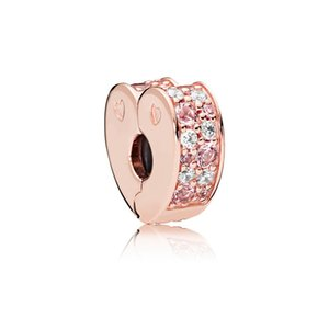 Colored stones CZ Diamond Clip Charms Bracelet Accessories with box for Pandora 925 Sterling Silver Heart Clips 281 W2