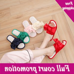 2021 summer new breathable indoor sandals TPR material Korean bow cloth slippers for women