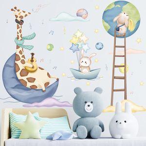 Cartoon Giraffe Wall Stickers Kids Room Baby Bedroom Decor Removable DIY PVC Art Murals Home Decorative Sticker