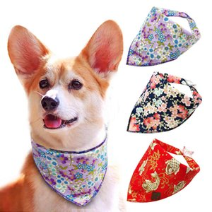 Print Flower Pet Collar Rural Pastoral Style Scarf Bandage Classic Dog Bandanas Small Adjustable for Dogs Cats