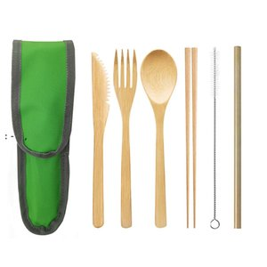 Travel Bamboo wood Cutlery Flatware Set tableware Reusable Bamboo Fork Knife Spoon Chopsticks Straw Cleaner eco friendly picnic OWE10494
