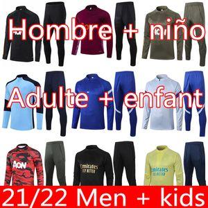 20 21 Manchester Former costume Hommes Enfants Martial Rashford Veste de football Veste de sport Sportswear Jogging 2021 Pogba United Soccer Tracksuit