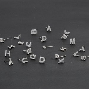 Anenjery 925 Sterling Sier Diy Jewelry 1 Couple Tiny Cz Beginletters Stud for Women Name Earrings S-e868