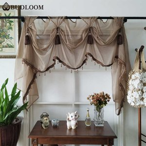 Budloom European style luxury tulle valance Curtain for living room green pink kitchen sheer valances Curtain for living room 210712