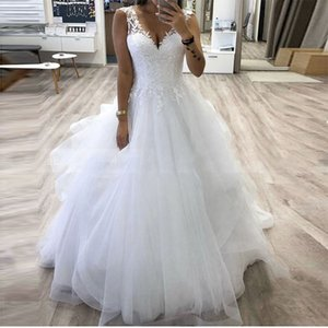 ZJ9210 V-neck Princess Ball Gown Wedding With Tiered Tulle Skirt White Customize Bride Dress Winter Bridal Gowns